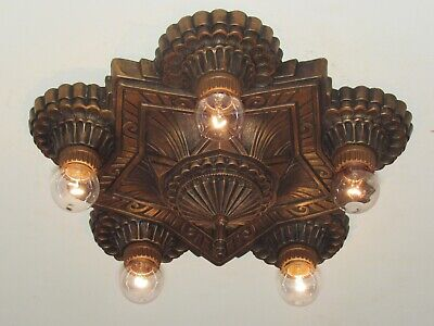 Matching Pair of Antique Wall Sconces and Ceiling Light Fixture Art Deco
