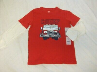 NWT Carters Boys Size 4T, 5T Red FIRE ENGINE CHIEF RESCUE HERO Long Sleeve