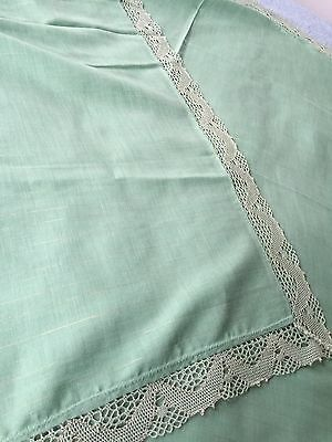 "Vintage Cotton Tablecloth Green & Light Gold Stripes Embroidered Edges 48"" X 69"""