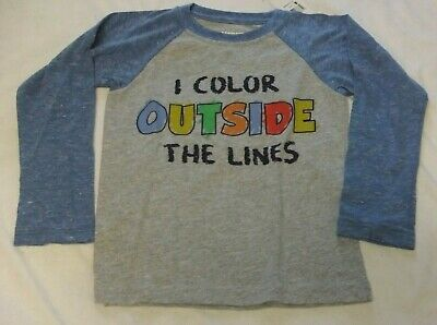 NWT Boys Size 3T, 4T Shirt I COLOR OUTSIDE THE LINES Long Sleeve Gray Pre-School