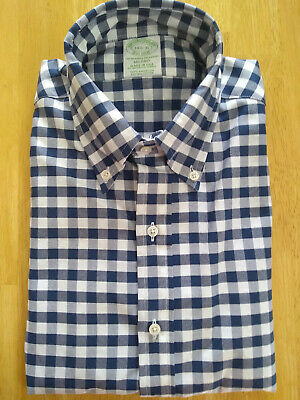 NWOT Brooks Brothers Blue /& White Gingham Button Down Milano Fit MSRP $140
