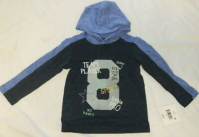 NWT Boys Size 2T, 4T SPORTS THEME Super Star Blue Long Sleeve Pullover Hoodie