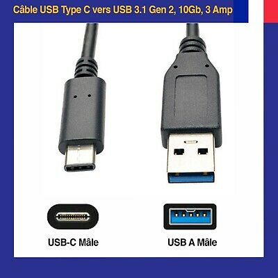 Cable USB Type C vers USB 3.1 10Gb 3A Pour Samsung Android, Galaxy Note 8, S9P