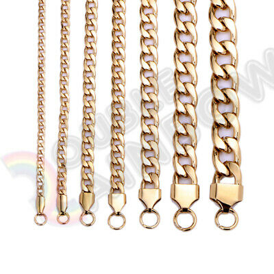 """Men Women's Stainless Steel Necklace Gold Cuban 3-12mm Chain 18-36""""Link C08"""