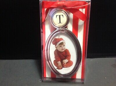 New personalized Initial T Frame Ornament By Mud Pie For Christmas Tree or Table
