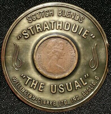 Encased 1971 Great Britain Penny Scotch Whisky Strathduie Glenbruich Usual Cent