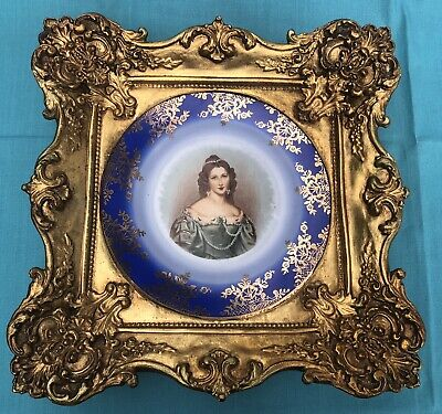 Stunning Portrait  Plate of Victorian Lady in Rococo/Louis XV Style Gilt Frame
