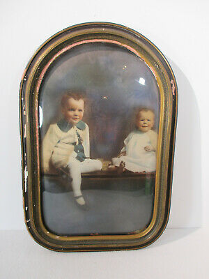 """Picture Frame Oval Convex Glass Wall Hanging Vintage Wood Large 12""""x18"""" Boys"""