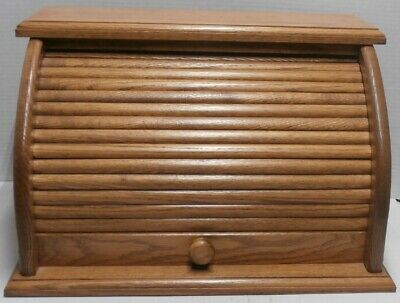 """Vintage Honey Oak? Wood Bread Box with Roll Top 18"""" x 11 1/2"""" tall"""