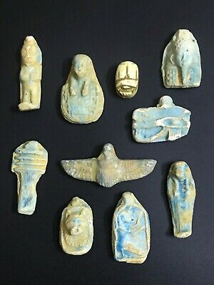 RARE EGYPTIAN ANTIQUES EGYPT STATUE Amulet Group 10 Faience Carved STONE 3200 BC