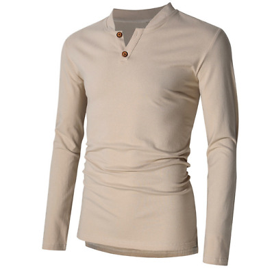 US 2XL Men's Long Sleeve Pullover Basic Tee V-neck Casual Shirt Slim Tops LHM15