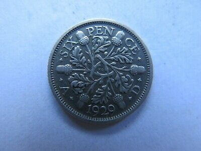 1929 GREAT BRITAIN SILVER 6 PENCE KING GEORGE V in COLLECTABLE CONDITION
