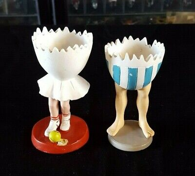 Resin Walking Egg Cups x 2 Novelty Made in Japan Collectable VGC