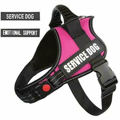 """Pawshoppie XL Pink Harness 2 Removable """"Emotional Support'' """"Service Dog"""" EUC"""