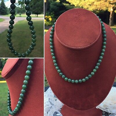 VINTAGE EMERALD DEEP GREEN JADE BEADED NECKLACE 950 STERLING CLAPS 17 Inches