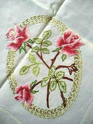 Stunning Pink Rose Cameos  Vintage Hand Embroidered Tablecloth