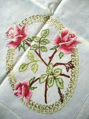 Stunning Pink Roses Cameos  Vintage Hand Embroidered Tablecloth
