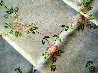 Charming Pink Wild/Briar/Dog Roses  Vintage Hand Embroidered Tablecloth
