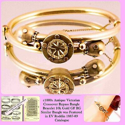 c1880s ANTIQUE Victorian Crossover Bypass Gold GF Bangle Bracelet 10k Gold GF RG