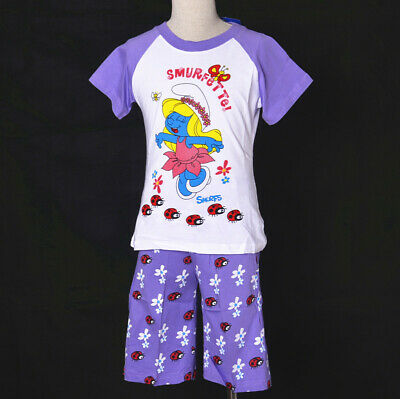 Girls The Smurfs Smurfette Kid Cotton  Pyjamas Summer Short Outfit Sleepwear Set