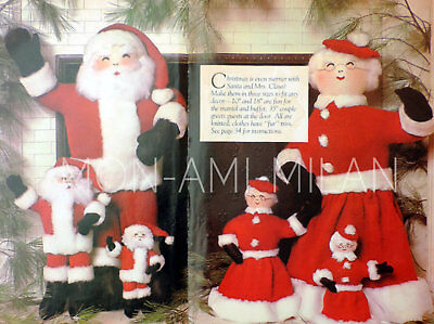 "Santa Claus Dolls Knitting Pattern Father Christmas Decoration Toy 10""/18""/35"""