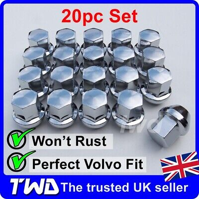 20x CHROME ALLOY WHEEL NUTS FOR VOLVO S40 V40 S90 (M12x1.5) SOLID TAPER [20N]