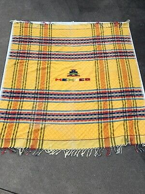 "Authentic Yellow Red Blue Striped Mexican Falsa Fiesta Blanket Tassels 50"" x 50"""