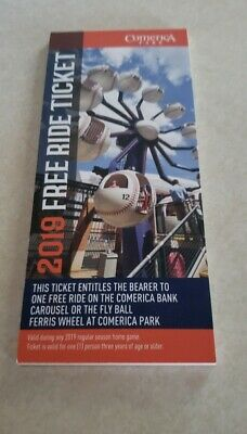 8 Detroit Tigers (Comerica Park) 2019 Ride Tickets -Carousel and Ferris Wheel