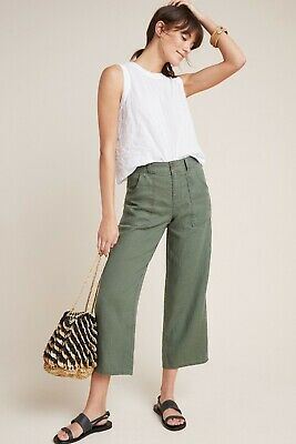 Sanctuary Cropped Pants 30 NWT New Olive Green Cropped 100% Linen Mid-Rise