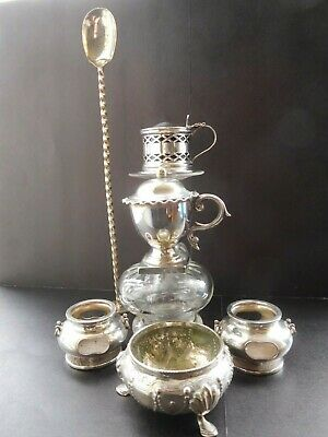 6 pieces of silver plate vintage/antique condiments one with blue glass liner