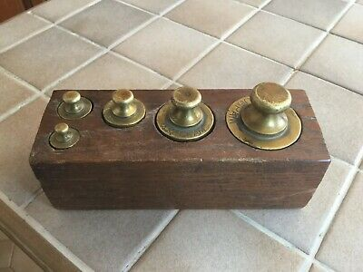 Antique Set Brass Scale Weights Boxed Dutch Origin.
