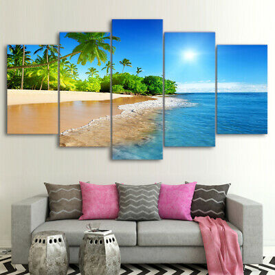 Seascape Blue Sea Beach Palm Trees Canvas Prints Painting Wall Art Poster 5PCS