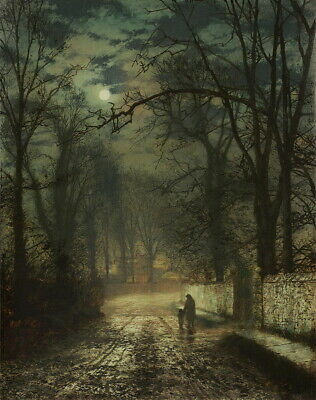 John Atkinson Grimshaw A Moonlit Lane Giclee Canvas Print Paintings Poster