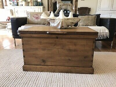 Old antique pine bedding blanket box wooden trunk coffee table vintage Victorian