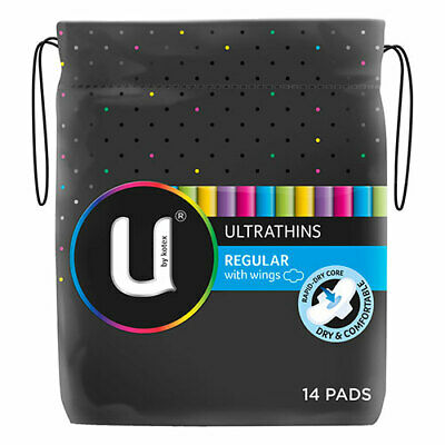 NEW U By Kotex Feminine Pads Regular Pad Ultra For Everyday Use 14 Wings
