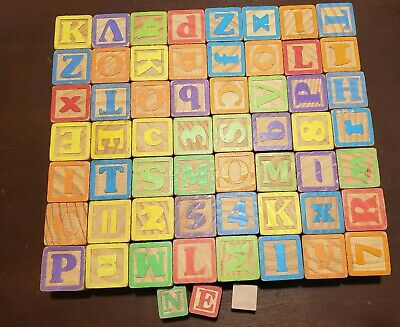 59 Wooden Numbers Alphabet Blocks Letter Wood Baby Learning Vintage ABC Kids