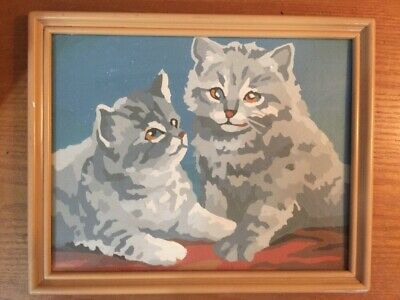 Paint By Number Gray Cats Kittens Completed Painting with Frame