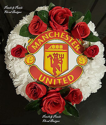 Manchester United Football Artificial Wreath Funeral Flowers Tribute Grave Posy