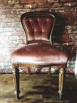 Victorian Balloon Back Chairs pair carved turned legs velvet upholstry mahogany