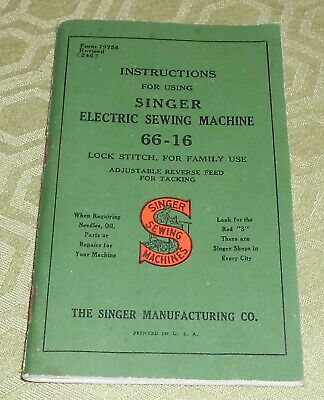 Instructions Booklet Manual for Singer Portable Electric Sewing Machine 66-16
