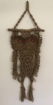Vtg 1970s Big Eye Owl Macrame Drift Wood Wall Art Hanging Mid Century Retro