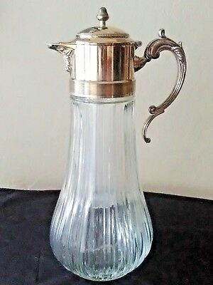 Antique Silver Handle Glass Pitcher Wine Decanter w/ Ice Insert Made in Italy