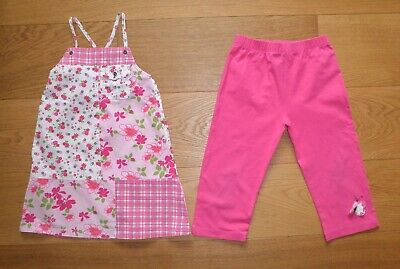 Vertbaudet Girls Floral Top And Pink Cropped Leggings Outfit Age 5-6 Years