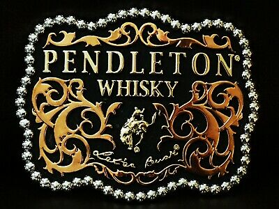 """A VERY HANDSOME 2010 PENDLETON WHISKY BELT BUCKLE MONTANA SILVERSMITHS 4"""" x 3"""""""