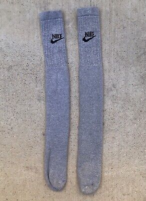 Vintage 80s 90s Nike Long Grey Gray Tube Socks swoosh spell out