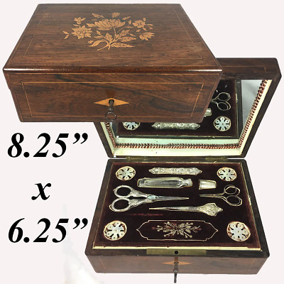 Antiques French Palais Royal Sewing Box, Chest, MOP Silk Spools, Sterling Silver