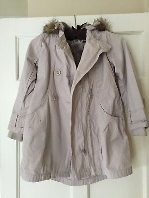 Girls beige Monsoon coat with fur lining and hood. Age 8/9