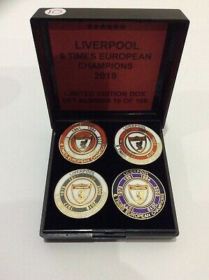 Liverpool Football Club Fc Badge Pin Limited Ed. European Cup Winners Box Set