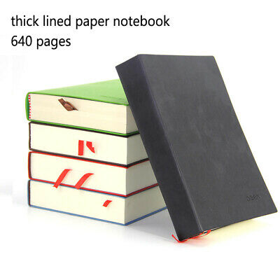 Very Thick Lined Paper Notebook A5 Size Soft Leather Cover Ruled Writing Journal