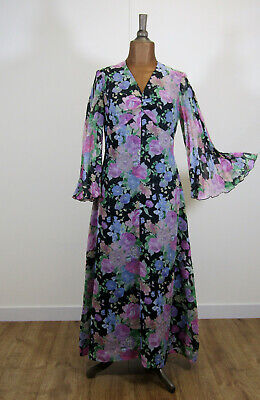 Vintage Dress 70s Retro Women Cocktail Evening Maxi Floral Bell Sleeves UK 14